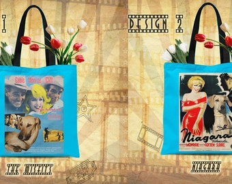 Sloughi Art Tote Bag Sloughi Dog Gifts inspired by Movie Poster The Misfits and Niagara by Nobility Dogs