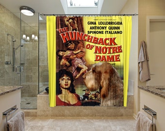 Italian Spinone Art Shower Curtain, Dog Shower Curtains, Bathroom Decor - The Hunchback of Notre Dame Movie Poster