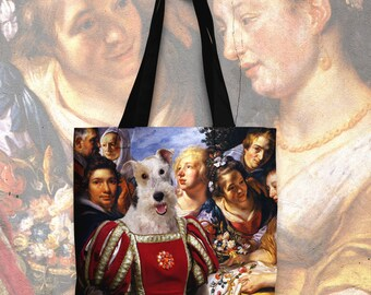 Fox Terrier Wire Art Tote Bag  by Nobility Dogs Arts