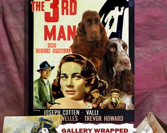 English Cocker Spaniel Print Fine Art Canvas   The Third Man Movie Poster   Perfect DOG LOVER GIFT Gift for Her Gift for Him Home Decor