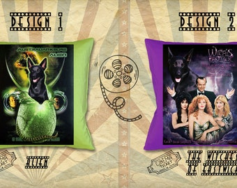 Australian Kelpie Dog Art Pillow Kelpie Gifts Portrait inspired by Movie Poster Alien and The Witches of Eastwick by Nobility Dogs