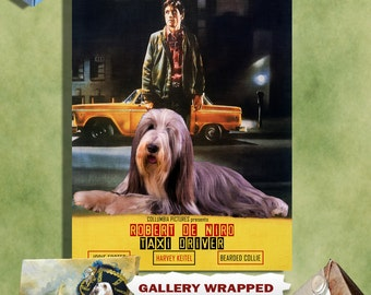 Bearded Collie Art Print Taxi Driver Vintage Movie Poster Gift by Nobility Dogs