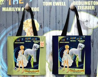 Bedlington Terrier Art Tote Bag   The Seven Year Itch Movie Poster by Nobility Dogs