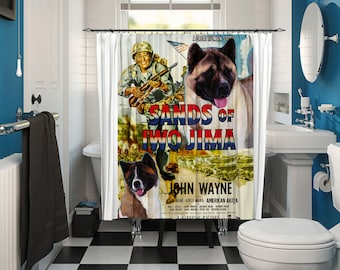 American Akita Art Shower Curtain, Dog Shower Curtains, Bathroom Decor - Sands of Iwo Jima Movie Poster