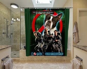 Boston Terrier Art Shower Curtain, Dog Shower Curtains, Bathroom Decor - GhostBusters Movie Poster