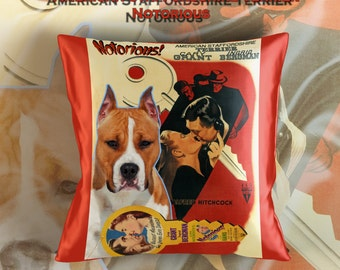 American Staffordshire Terrier Art Pillow Case   Notorious Movie Poster   by Nobility Dogs