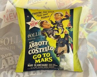 Collie Smooth Art Pillow    Abbott and Costello Movie Poster   by Nobility Dogs