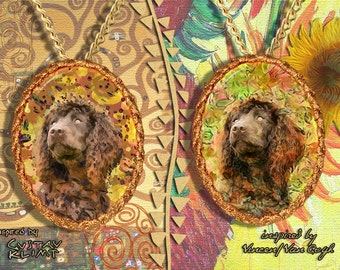 Irish Water Spaniel Jewelry Pendant   Brooch Handcrafted Porcelain by Nobility Dogs   Gustav Klimt and Van Gogh