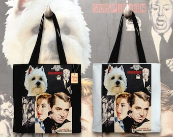 West Highland White Terrier Art Tote Bag - Suspicion Movie Poster   Perfect DOG LOVER Gift for Her Gift for Him