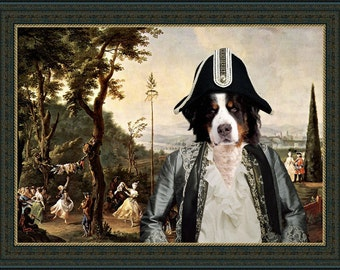 Bernese Mountain Dog Art Print Canvas Dog Lover  Gifts by Nobility Dog