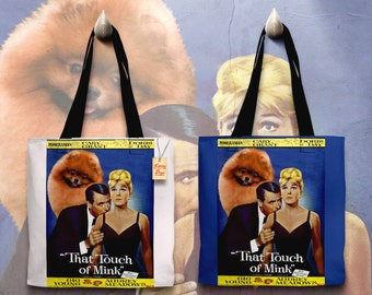 Pomeranian Art Tote Bag   That Touch of Mink Movie Poster by Nobility Dogs