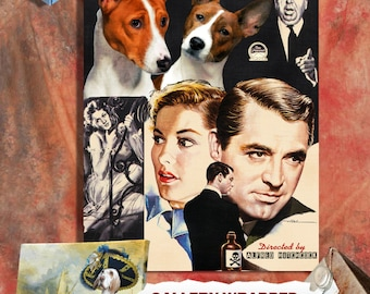 Basenji Fine Art Poster Canvas Print - Suspicion Movie Poster Perfect DOG LOVER GIFT Gift for Her Gift for Him Home Decor