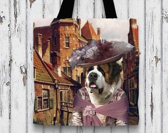 Saint Bernard  St. Bernard Art Tote Bag  by Nobility Dogs Arts