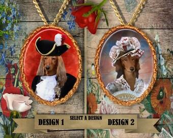 Dachshund  Longhaired Jewelry. Dachshund Pendant or Brooch. Doxie Necklace. Dachshund Portrait. Custom Dog Jewelry.Dog Handmade Jewelry