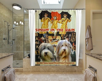 Bearded Collie Art Shower Curtain, Dog Shower Curtains, Bathroom Decor   Singin' in the Rain Movie Poster