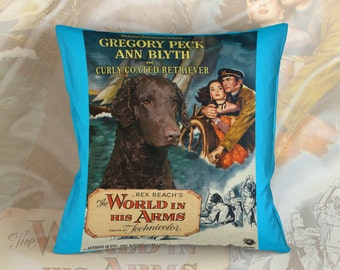 Curly Coated Retriever Art Pillow  The World in His Arms Movie Poster   by Nobility Dogs