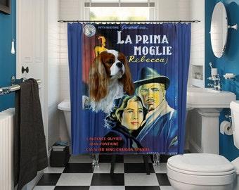 Cavalier King Charles Spaniel Art Shower Curtain, Dog Shower Curtains, Bathroom Decor - Rebecca Movie Poster