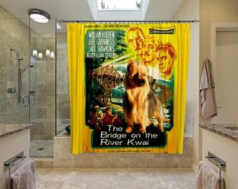 Australian Terrier Art Shower Curtain, Dog Shower Curtains, Bathroom Decor - The Bridge on the River Kwai Movie Poster