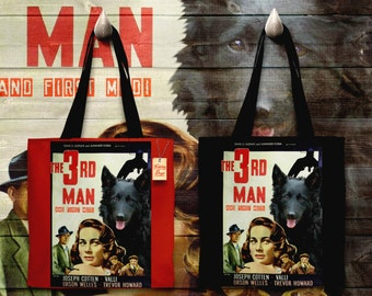 Mudi Art Tote Bag - The Third Man Movie Poster   Perfect DOG LOVER Gift for Her Gift for Him