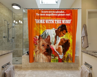 Australian Terrier Art Shower Curtain, Dog Shower Curtains, Bathroom Decor - Gone With The Wind Movie Poster