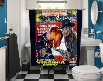 Basset Hound Art Shower Curtain, Dog Shower Curtains, Bathroom Decor - Virginia City Movie Poster