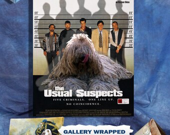 Komondor Dog Art The Usual Suspects Movie Poster Canvas Print Dog Lover Gifts by Nobility Dogs