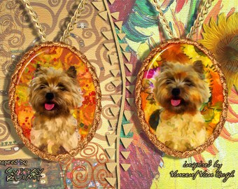 Cairn Terrier Jewelry Pendant - Brooch Handcrafted Porcelain by Nobility Dogs - Gustav Klimt and Van Gogh
