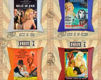 Saluki Art Pillow Saluki Dog Gifts inspired by Movie Poster Belle de Jour, River of No Return, Vertigo and Some Like It Hot