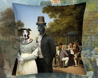 Christmas Gifts Greyhound Pillow Portrait  Dog Lover  by Nobility Dogs Arts