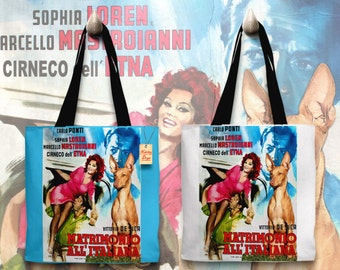 Cirneco dell Etna Art Tote Bag   Marriage Italian Style Movie Poster by Nobility Dogs