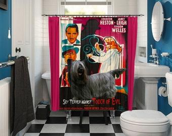Skye Terrier Art Shower Curtain, Dog Shower Curtains, Bathroom Decor - Touch of Evil Movie Poster