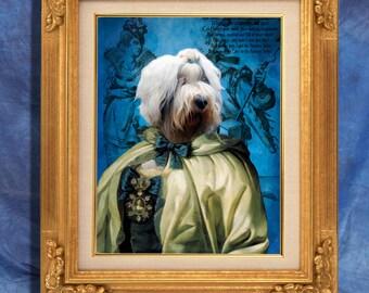 Old English Sheepdog - Bobtail Art Print 11 x 14 inch original illustration artwork giclee archival premium poster print By Nobility Dogs