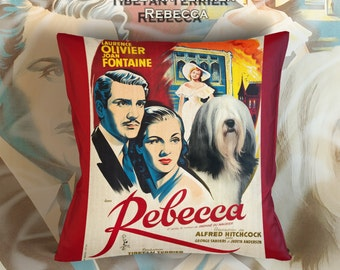 Tibetan Terrier Art Pillow Rebecca Movie Poster   by Nobility Dogs