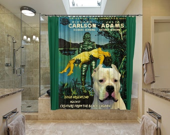 Dogo Argentino Art Shower Curtain, Dog Shower Curtains, Bathroom Decor - Creature from the Black Lagoon Movie Poster