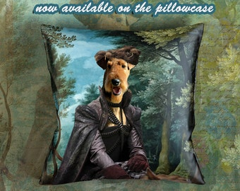 Christmas Gifts Airedale Terrier Art Pillow    Dog Lover  by Nobility Dogs Arts