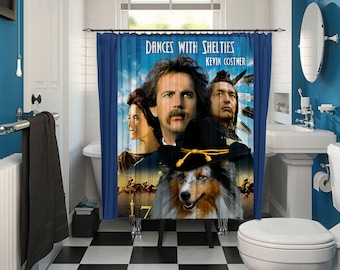 Shetland Sheepdog Art Shower Curtain, Dog Shower Curtains, Bathroom Decor - Dances with Wolves Movie Poster