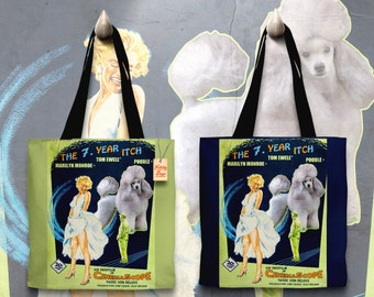 Poodle Art Tote Bag    The Seven Year Itch Movie Poster    by Nobility Dogs