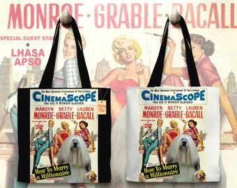 Lhasa Apso Art Tote Bag   How to Marry a Millionaire Movie Poster    by Nobility Dogs