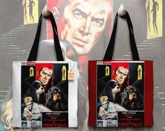 Cavalier King Charles Spaniel Art Tote Bag   VERTIGO Movie Poster by Nobility Dogs