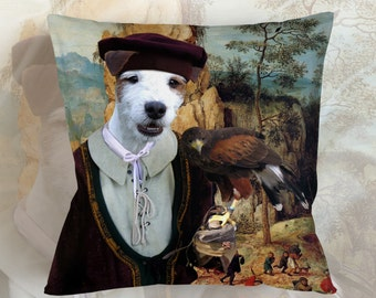 Christmas Gifts Russell Terrier Pillow Portrait Dog Lover  by Nobility Dogs Arts