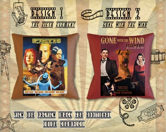 Irish Terrier Dog Art Pillow Gifts inspired by Movie Poster Gone With the Wind and The Fifth Element by Nobility Dogs