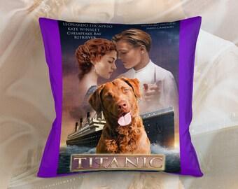 Chesapeake Bay Retriever Art Pillow Titanic Movie Poster   by Nobility Dogs