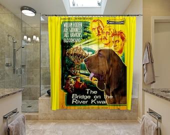 Bloodhound Art Shower Curtain, Dog Shower Curtains, Bathroom Decor - The Bridge on the River Kwai Movie Poster