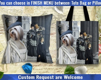 Tibetan Terrier Pillow or Tote Bag/Tibetan Terrier Art/Tibetan Terrier Portrait/Dog Tote Bag/Dog Pillow/Dog Art/Custom Dog Portrait