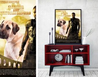 Anatolian Shepherd Dog Art Gladiator Movie Poster by Nobility Dogs