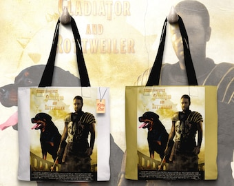 Rottweiler Art Tote Bag   Gladiator Movie Poster    by Nobility Dogs
