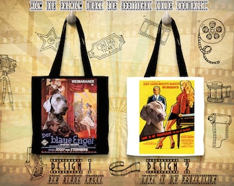 Weimaraner Print Tote Bag inspired by Movie Poster Love Is My Profession and The Blue Angel Gift for Her by Nobility Dogs