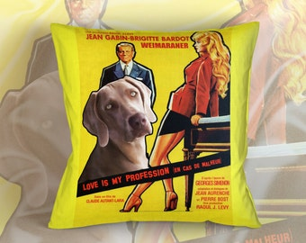 Weimaraner Art Pillow    Love is my Profession Movie Poster   by Nobility Dogs