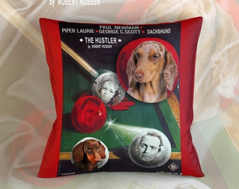 Dachshund Art Pillow    The Hustler Movie Poster   by Nobility Dogs