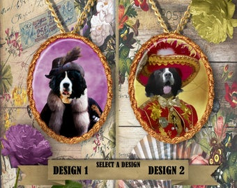 Newfoundland or Landseer Jewelry, Personalized Pet Gifts, Custom Dog Pendant by Nobility Dogs